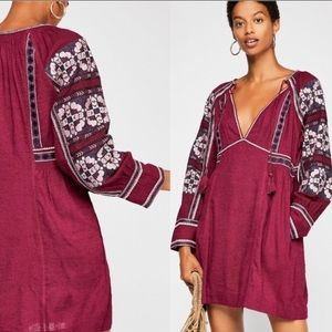 Free People All My Life Smocked Embroidered Dress